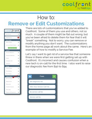 Coolfront Mobile - How to Remove or Edit Customizations