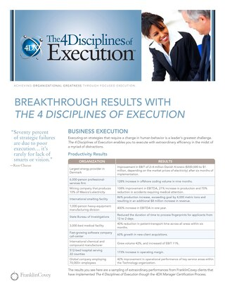 Breakthrough Results With The 4 Disciplines