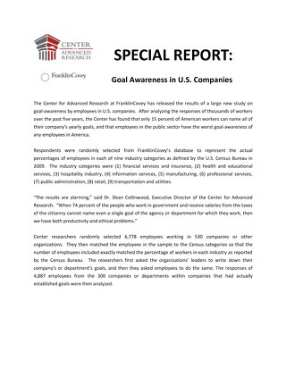 Special Report Goal Awareness in US Companies