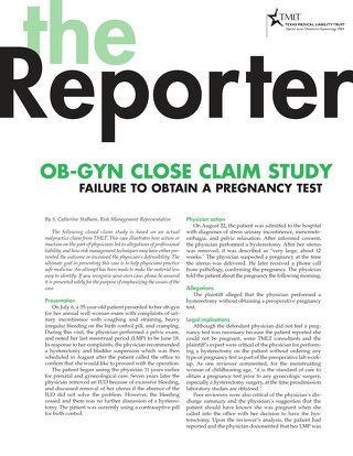 Reporter 2004 Obstetrics-Gynecology