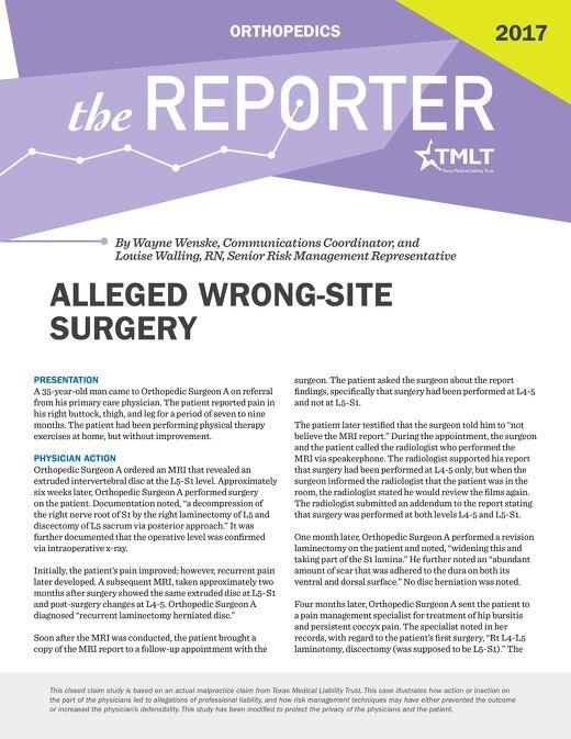 Reporter 2017 Orthopedics