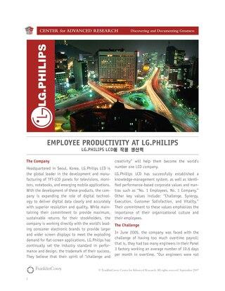 Employee Productivity at LG Philips
