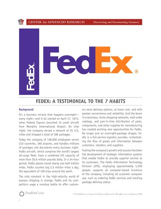 FedEx: A Testimonial to the 7 Habits