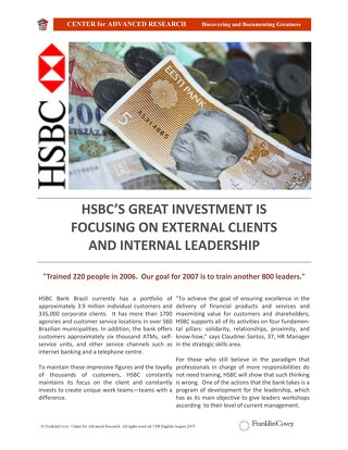 HSBC's Great Investment Is Focusing On External Clients and Internal Leadership
