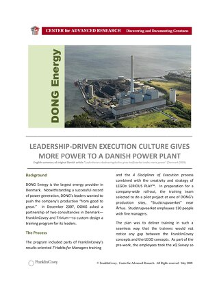 Leadership- DrivenExecution Culture Gives More Power to a Danish Power Plant