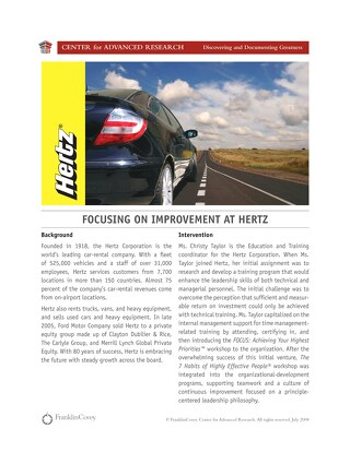 Focusing on Improvement at Hertz