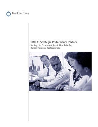 HRD As Strategic Performance Partner
