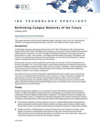 IDC Tech Spotlight: Rethinking Campus Networks of the Future