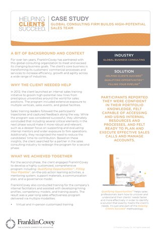 Case  Study - Global Consulting Firm Builds High Potential Sales Team