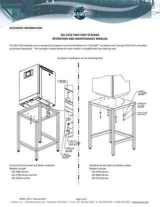 [Instructions] NU-1553 CO2 Incubator Stacking Table Operation and Maintenance Manual