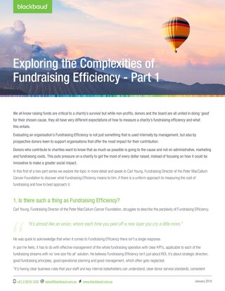 Fundraising Efficiency part 1