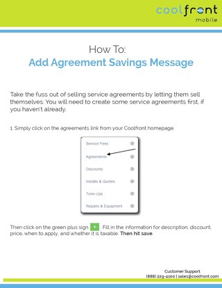 Coolfront Mobile- Adding Agreement Savings Message