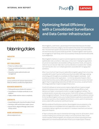 INTERNAL Win Report: Bloomingdale's Optimizes Retail Efficiency with Consolidated Surveillance and Datacenter Infrastructure