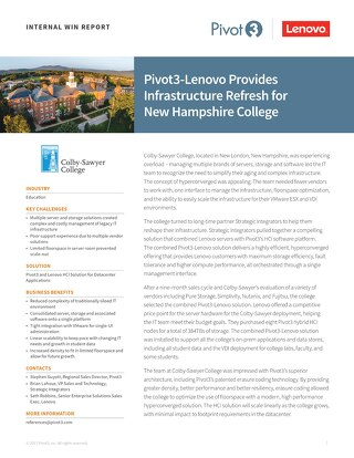 INTERNAL Win Report: Pivot3 & Lenovo Provide Infrastructure Refresh for NH College