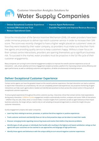 UK Customer Interaction Analytics Solutions for Water Supply