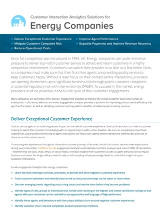 UK Customer Interaction Analytics Solutions for Energy