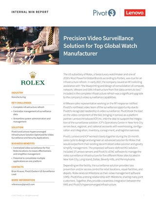 INTERNAL Win Report: Precision Video Surveillance Solutions for Leading Global Watch Manufacturer