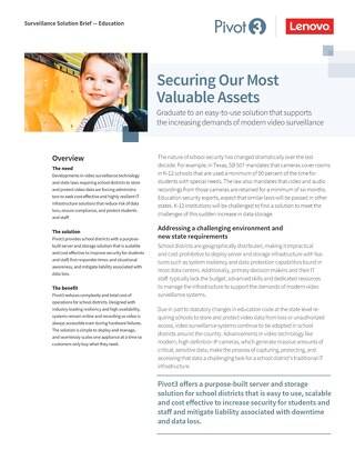 [Solution Brief] Pivot3 Lenovo Video Surveillance Solutions for K-12 Education