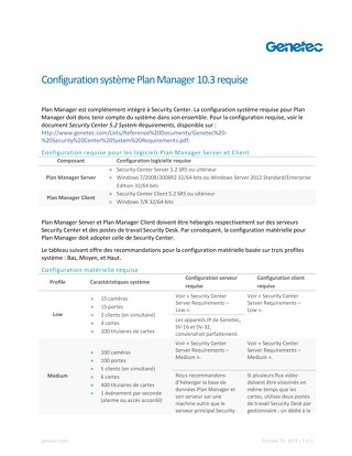 Configuration système Plan Manager 10.3 requise