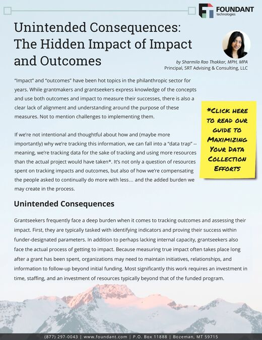 Unintended Consequences: The Hidden Impact of Impact and Outcomes