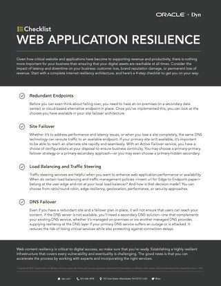 Checklist: Web Application Resilience