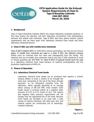 [Guide] CETA Application Guide for the Exhaust System Requirements of Class II, Type B Biosafety Cabinets