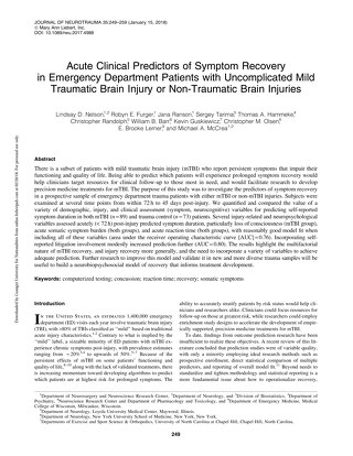 Acute Clinical Predictors of Symptom Recovery in Emergency Department Patients with Uncomplicated Mild Traumatic Brain Injury or Non-Traumat