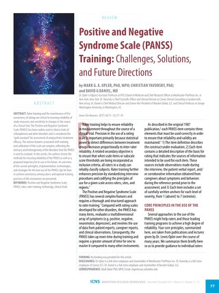 Positive and Negative Syndrome Scale (PANSS) Training: Challenges, Solutions, and Future Directions