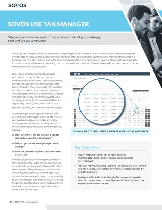 Sovos Use Tax Manager Datasheet