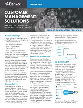 Elemica Customer Management Datasheet