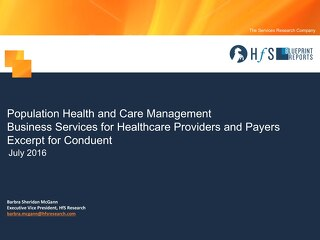 Population Health and Care Management Business Services for Healthcare Providers and Payers Excerpt for Conduent