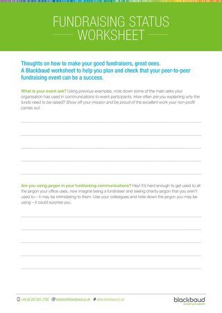 Peer-to-Peer Fundraiser Status Worksheet