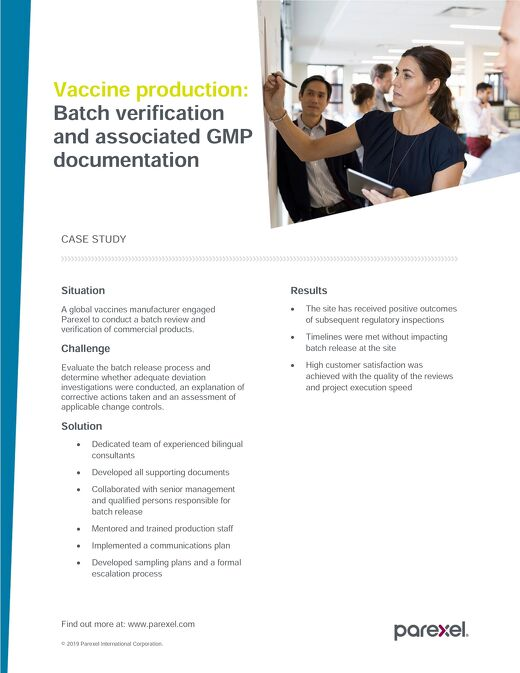 Case study vaccine production batch verification and GMP