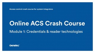 Module 1: Credentials & reader technologies (Presentation)