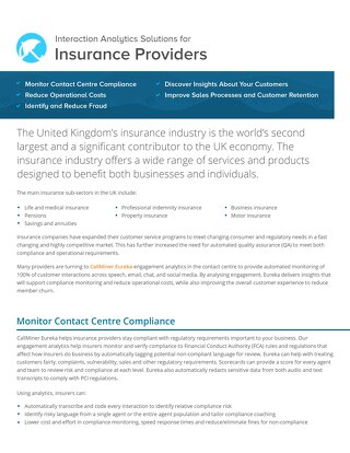 UK Interactions Analytics for Insurance Companies
