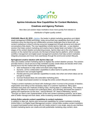 Aprimo Introduces New Capabilities for Content Marketers, Creatives and Agency Partners