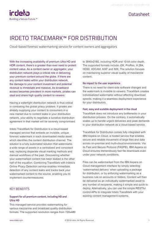 Datasheet: Irdeto Tracemark™ for Distribution