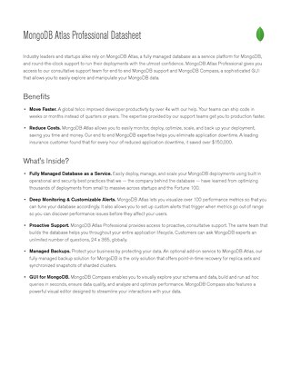 MongoDB Atlas Professional Data Sheet