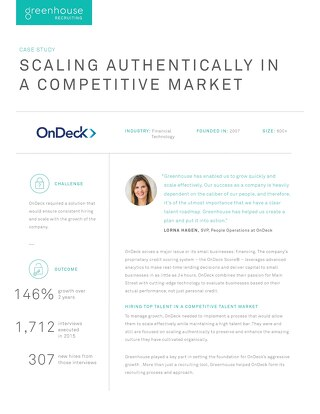 Scaling Authentically in a Competitive Market at OnDeck