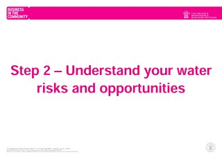 Step 2 – Understand your water risks and opportunities