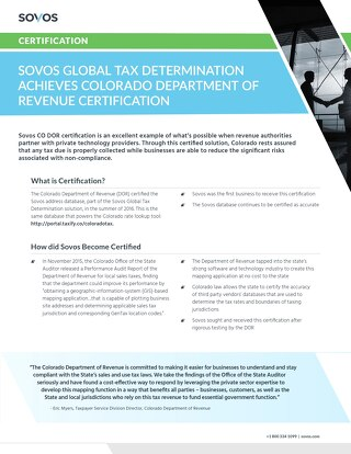 Sovos Global Tax Determination Achieves Colorado Department of Revenue Certification