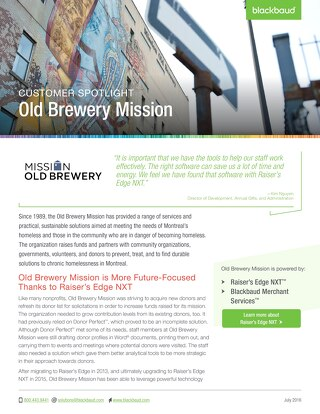 Old Brewery Mission's Story
