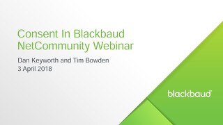 Consent in Blackbaud NetCommunity Webinar