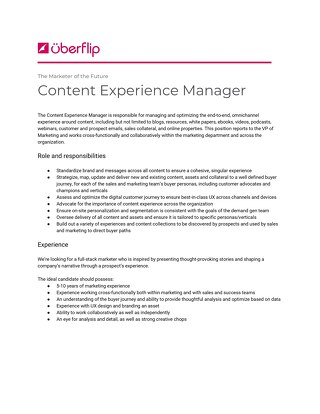 Content Experience Manager Job Description