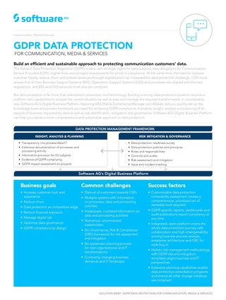 GDPR DATA PROTECTION FOR COMMUNICATION, MEDIA AND SERVICES