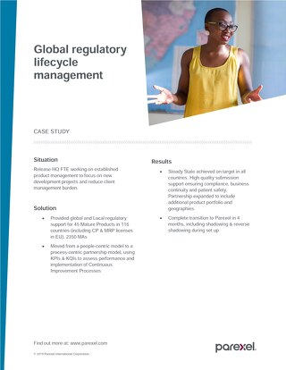 Case Study Global Regulatory Lifecycle Management