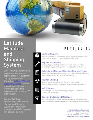 Latitude Manifest & Shipping System Data Sheet