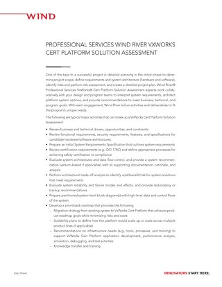 VxWorks Cert Solution Assessment