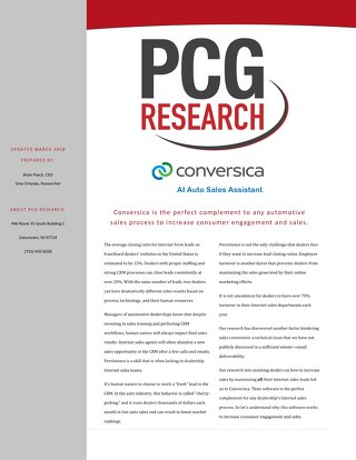 PCG Research Report 2018 - AI Auto Sales Assistant