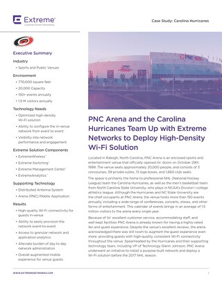 PNC Arena and the Carolina Hurricanes Team Up with Extreme Networks to Deploy High-Density Wi-Fi Solution